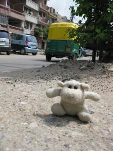 Harry in Nord-Delhi auf dem Mukherjee Nagar